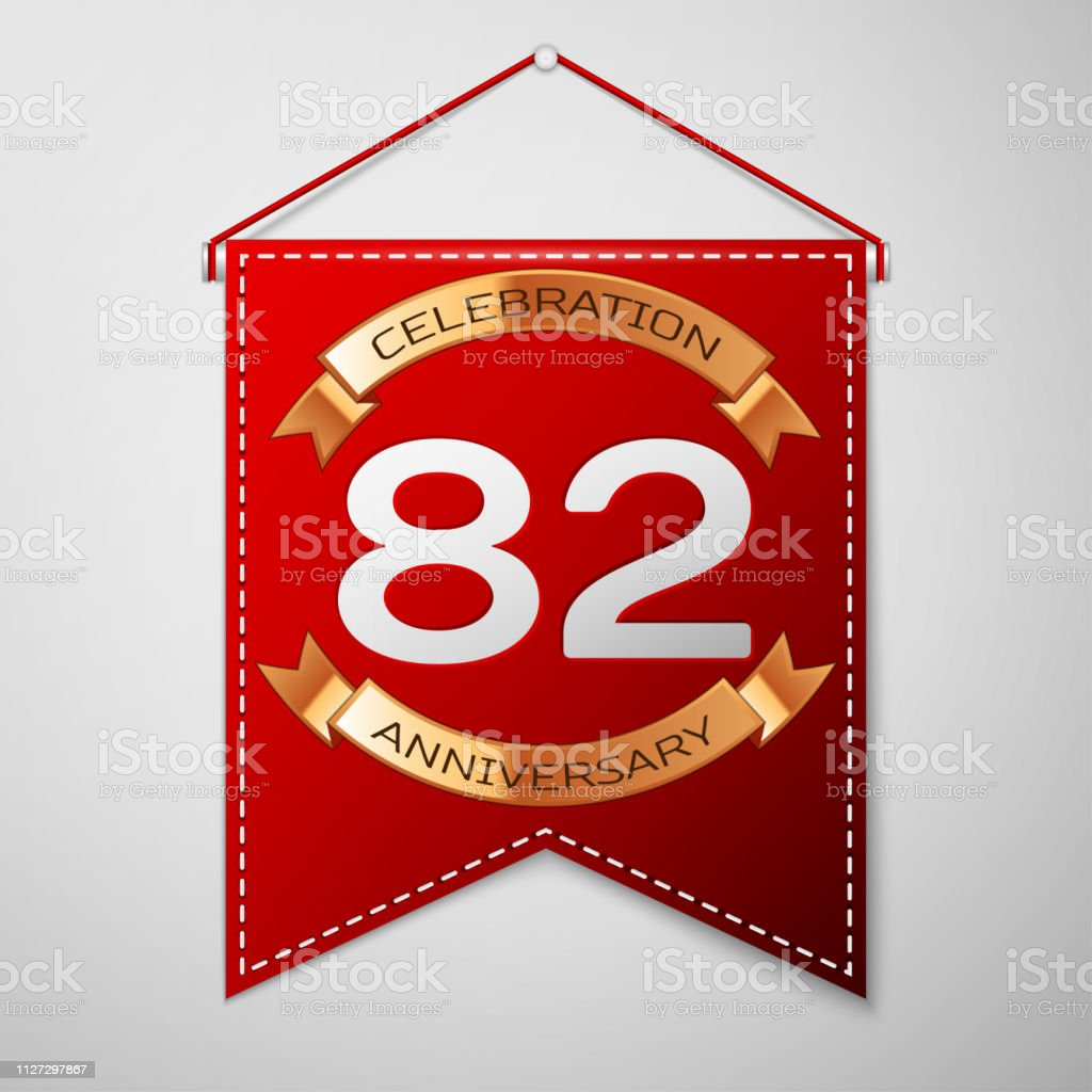 Red pennant with inscription Eighty two Years Anniversary Celebration Design over a grey background. Golden ribbon. Colorful template elements for your birthday party. Vector illustration vector art illustration