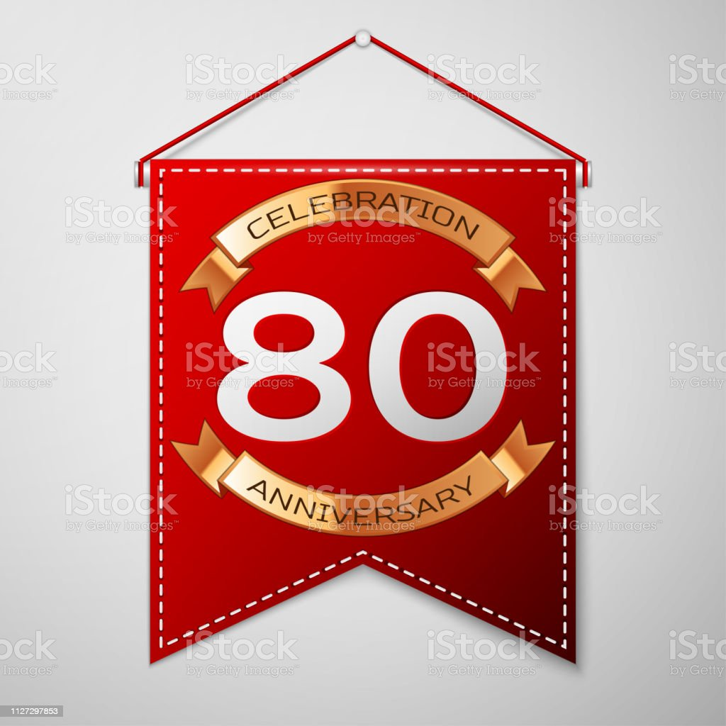 Red pennant with inscription Eighty Years Anniversary Celebration Design over a grey background. Golden ribbon. Colorful template elements for your birthday party. Vector illustration vector art illustration