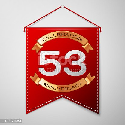 Red pennant with inscription Fifty three Years Anniversary Celebration Design over a grey background. Golden ribbon. Colorful template elements for your birthday party. Vector illustration