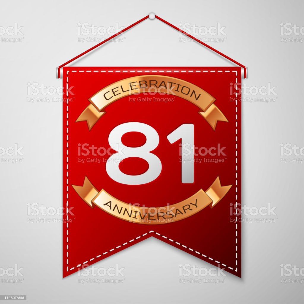 Red pennant with inscription One Years Anniversary Celebration Design over a grey background. Golden ribbon. Colorful template elements for your birthday party. Vector illustration vector art illustration