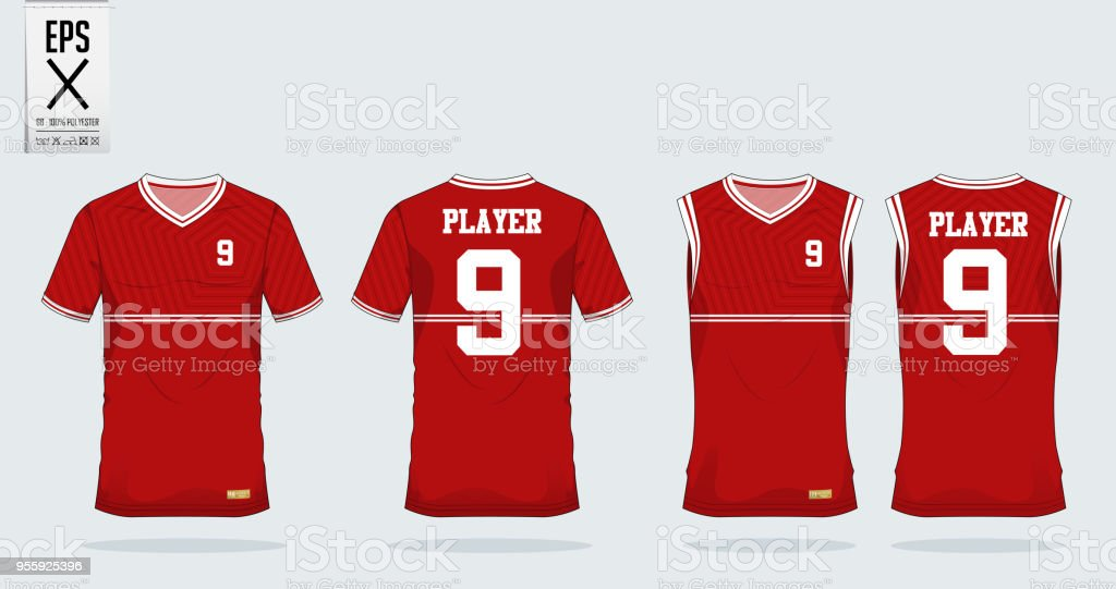 Red Pentagon t-shirt sport design template for soccer jersey, football kit and tank top for basketball jersey. Sport uniform in front and back view. Tshirt mock up for sport club. Vector. vector art illustration