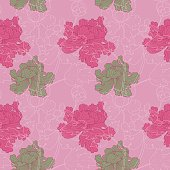 """Vector illustration of seamless, Japanese textile design with peonies (paeonia) on a light pink background in a """"silk kimono-style""""."""