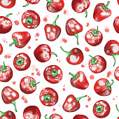 Red Peppers Seamless Pattern with Watercolor Splashes, Watercolor Hand Drawn Illustration Isolated on White Background.