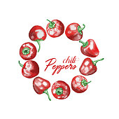 Red Peppers Wreath, Watercolor Hand Drawn Illustration Isolated on White Background.
