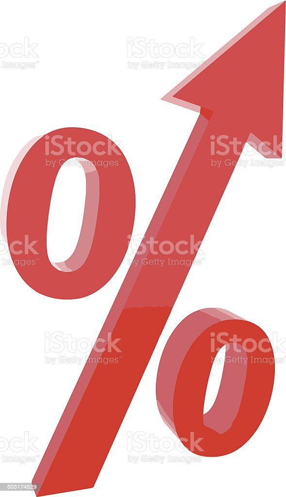 Red percentage symbol with an arrow up. Vector illustration. vector art illustration