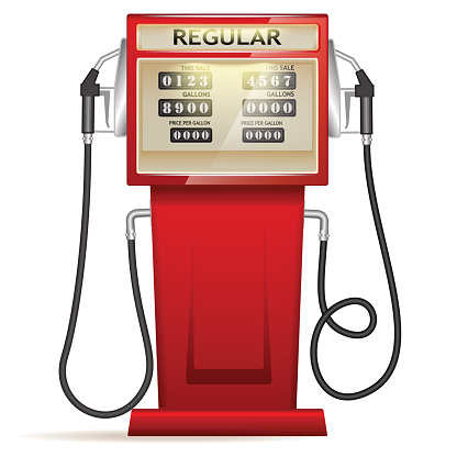 red petrol station with hoses and boards in USA