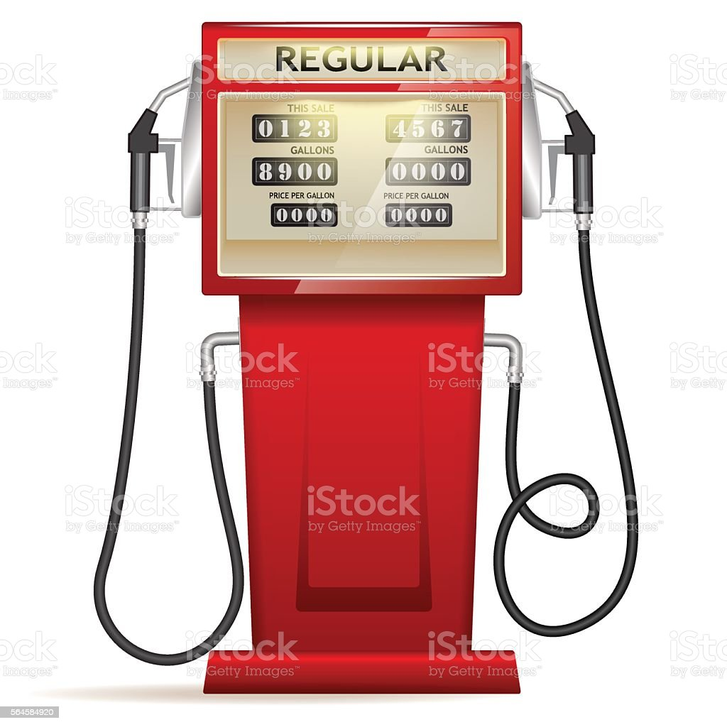 red petrol station in USA vector art illustration