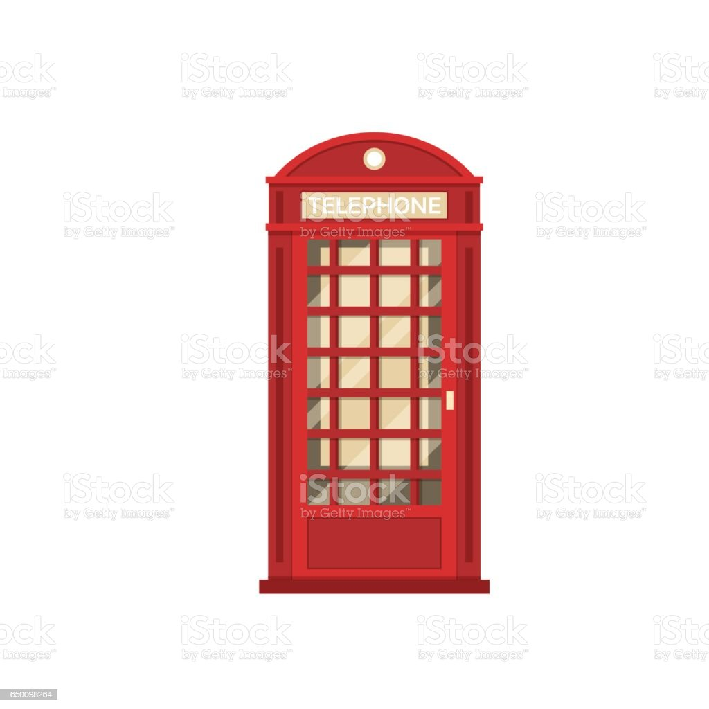 Red Phone Booth vector art illustration