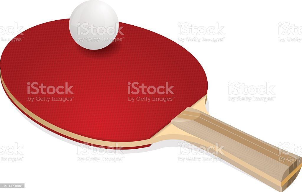 Red ping-pong rackets and white ball vector art illustration