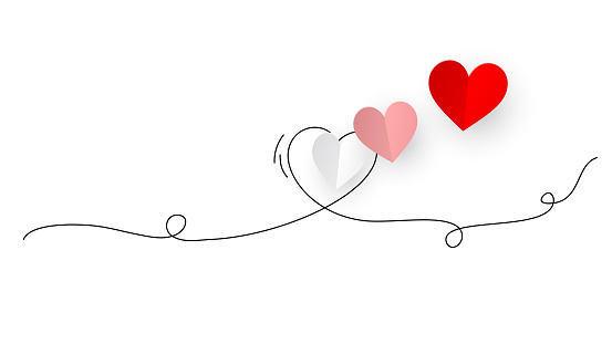 Red, pink and white origami hearts on continuous line art drawing background