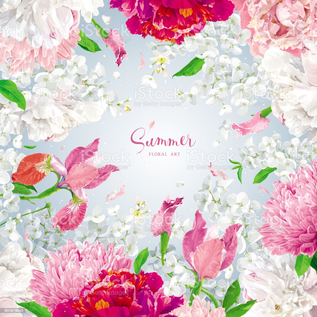 Red Pink And White Spring And Summer Flowers Vector Background Stock