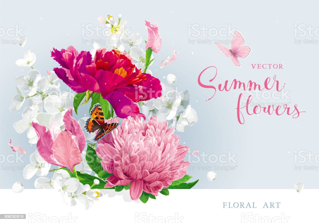 Red Pink Summer Flowers Bouquet Stock Vector Art & More Images of ...