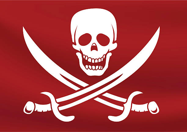 Red pirate flag with some riples vector art illustration