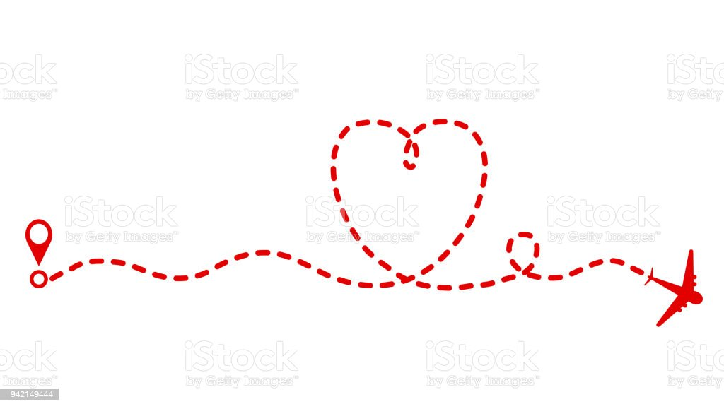 Red Plane And Track As Heart Symbol Valentine Day Greeting Card
