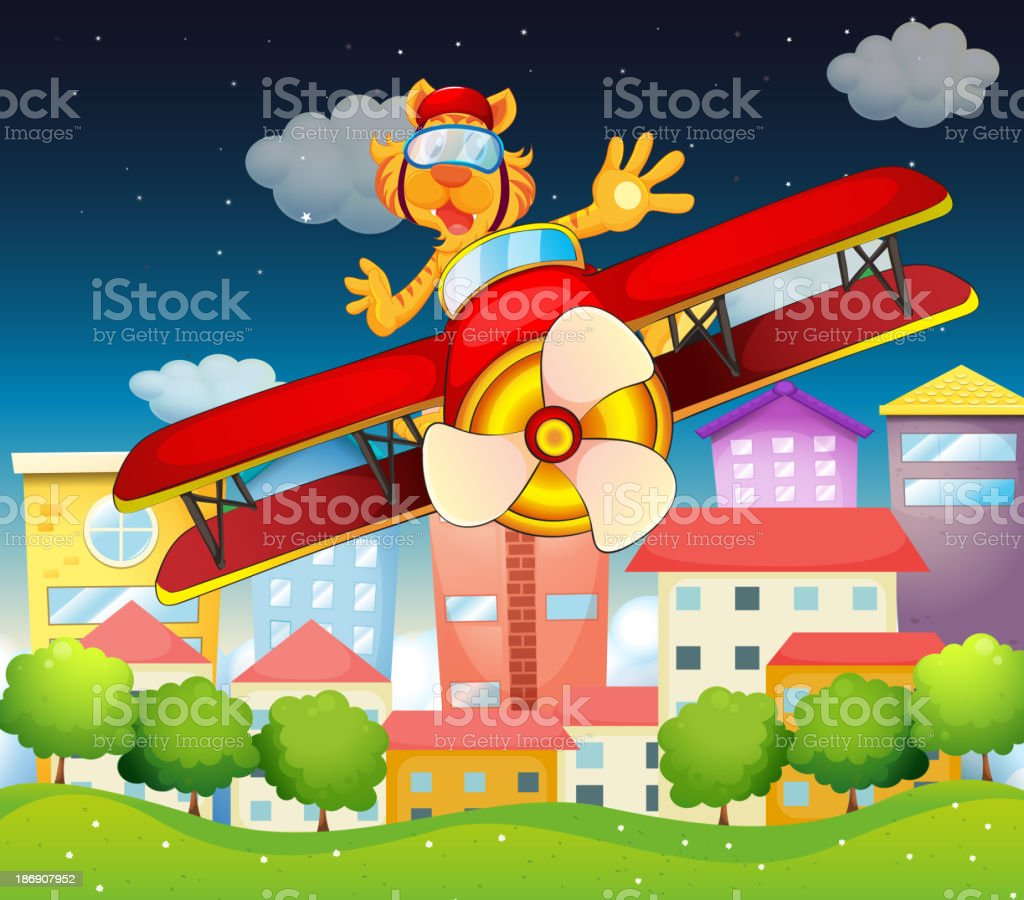 red plane with a boastful tiger royalty-free stock vector art