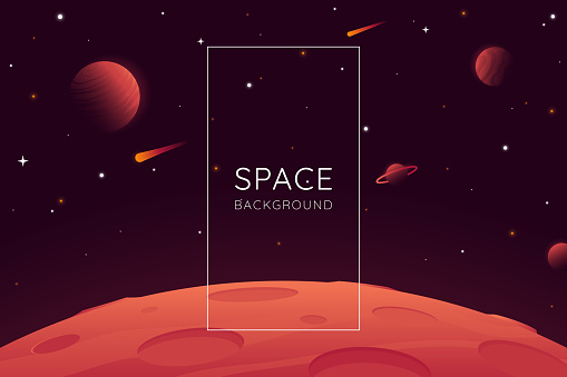 Red planet landscape vector illustration. Space background with place for text. Surface of the planet with craters. Space decoration for your design. Stars and comets on dark background. Eps 10