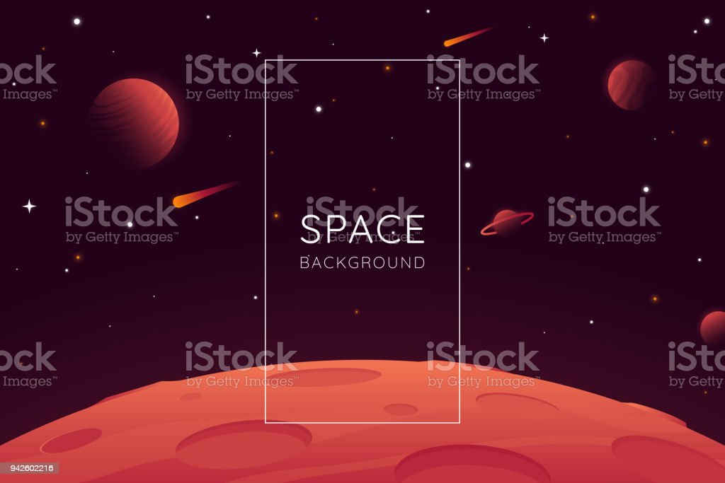 Red planet landscape vector illustration. Space background with place for text. Surface of the planet with craters. Space decoration for your design. Stars and comets on dark background. Eps 10 vector art illustration