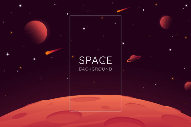red planet landscape vector illustration. space background with place for text. surface of the planet with craters. space decoration for your design. stars and comets on dark background. eps 10 - свободное место stock illustrations