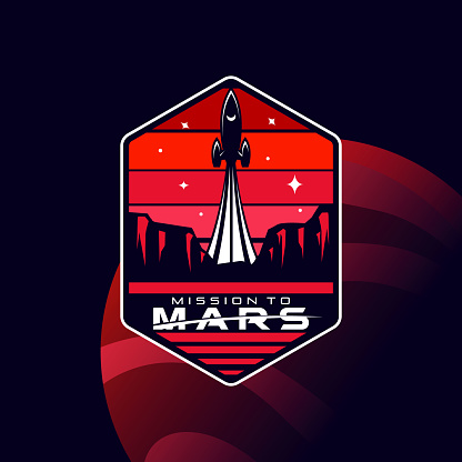 red planet mars space mission badge vector icon