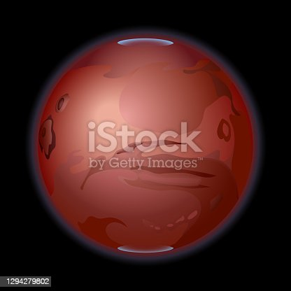 istock red planet of the Solar system Mars with polar caps, meteor craters and blue atmosphere aureole at night 1294279802