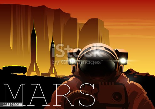 Poster Depicting Exploration and Colonization of Mars, Human Spaceships and Astronaut