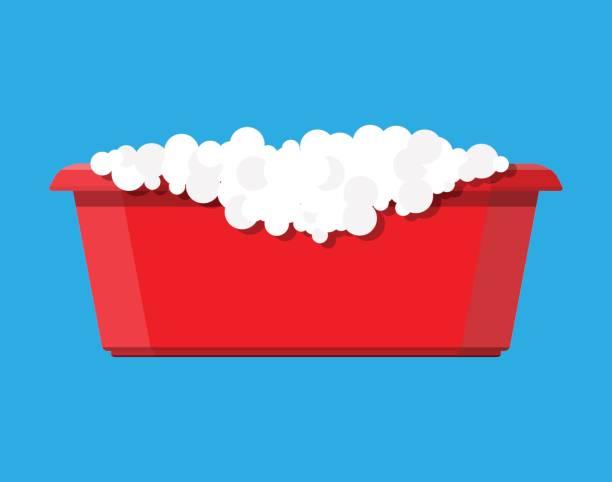illustrations, cliparts, dessins animés et icônes de bassin en plastique rouge avec l'eau savonneuse. bol avec de l'eau - mousse d'emballage