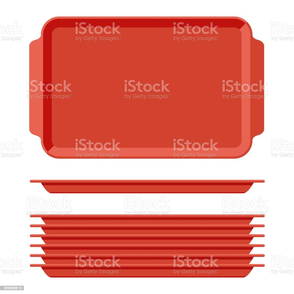 Red plastic blank food tray set with handles. Rectangular kitchen salvers isolated on white background. Plastic tray for canteen illustration, top view plate rectangle stack vector art illustration
