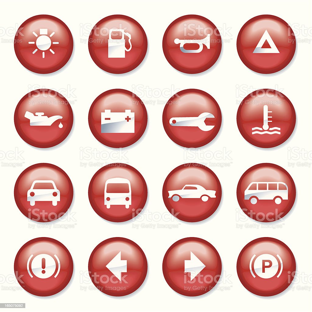 Red Plastic Car Buttons royalty-free stock vector art