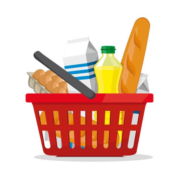 빨간 플라스틱 쇼핑 바구니 제품의 전체입니다. 식료품이 게. 화이트에 벡터 그림입니다. - 바구니 stock illustrations