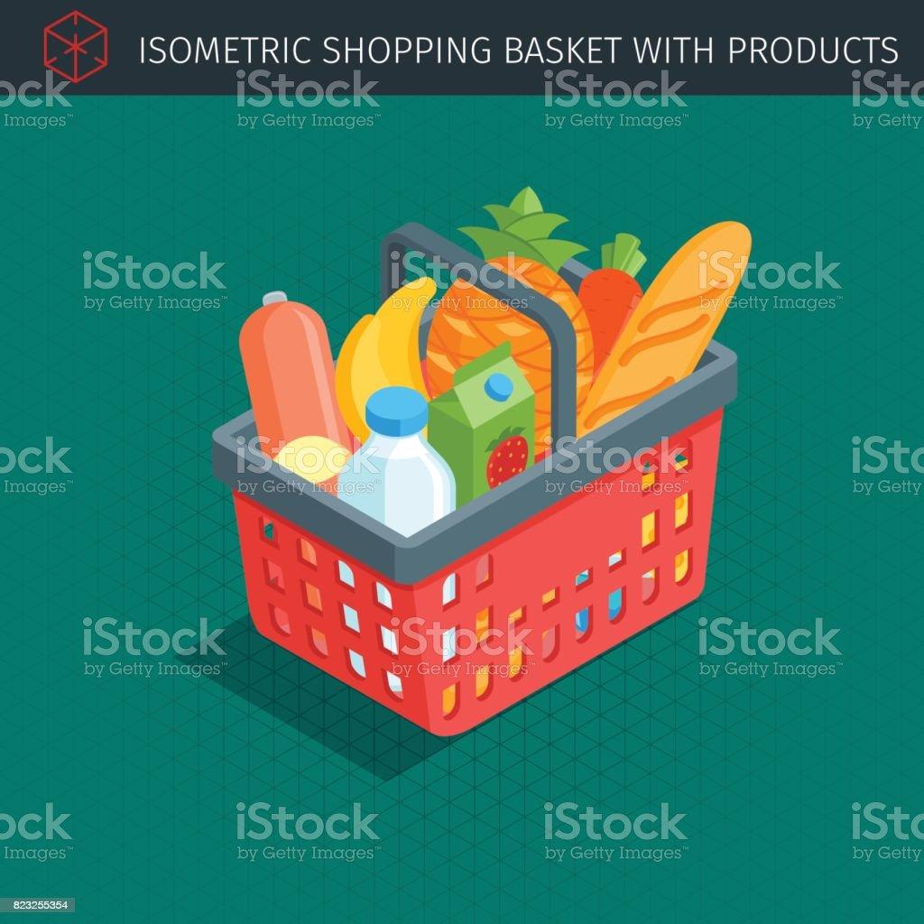 red plastic shopping basket vector art illustration