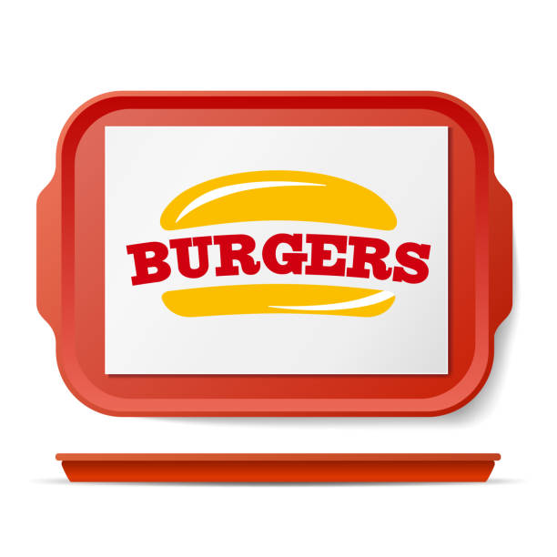 Red Plastic Tray Salver Vector. Classic Rectangular Red Plastic Tray. Good For Advertising, Branding Design. Top View. Restaurant, Fast Food Close Up Tray Isolated Illustration vector art illustration