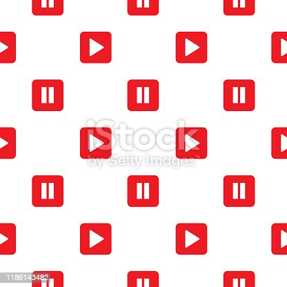 Vector seamless pattern of red play and pause buttons on a white background.