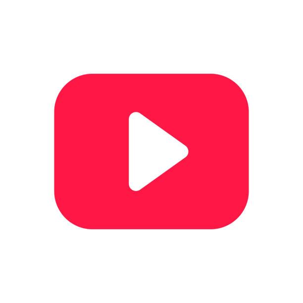 ilustrações, clipart, desenhos animados e ícones de tecla vermelha do jogo no sinal arredondado do ícone do retângulo isolado na ilustração branca do vetor do fundo. - cinema