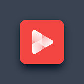 Vector illustration of red play button logo.