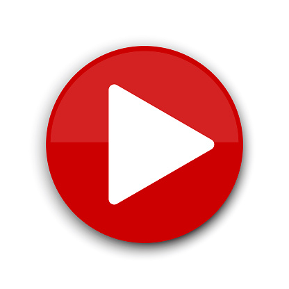 Red play button. Website icon symbol. Vector web button. Stock image. EPS 10.