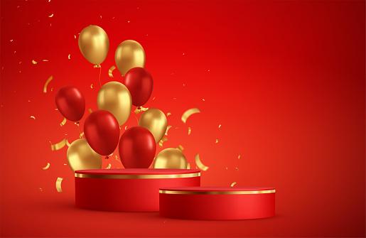 Red podium photo studio room scene. Birthday, party, christmas theme.