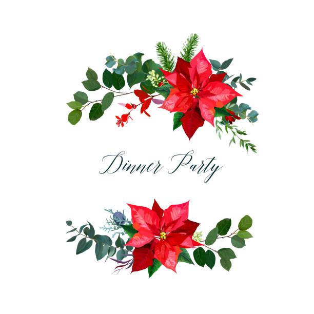 stockillustraties, clipart, cartoons en iconen met rode poinsettia bloemen, kerst groen, emerald eucalyptus - kerstster