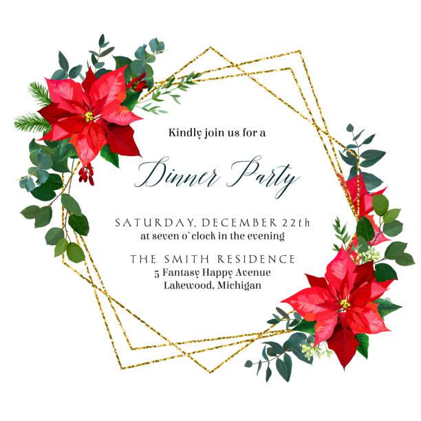 stockillustraties, clipart, cartoons en iconen met kerst groen, rode poinsettia bloemen, mix van seizoensgebonden planten vector design frame - kerstster