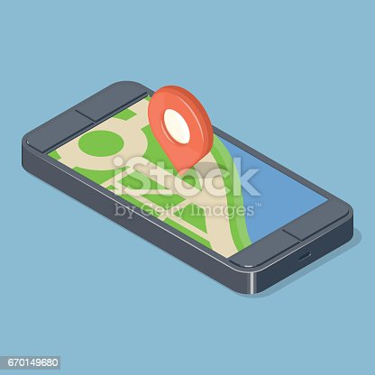 610119450 istock photo Red pointer on GPS navigatior gadget. 670149680