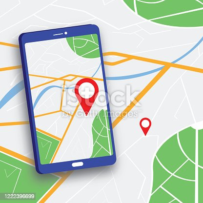 610119450 istock photo Red pointer on smartphone map. GPS navigation stock illustration 1222396699