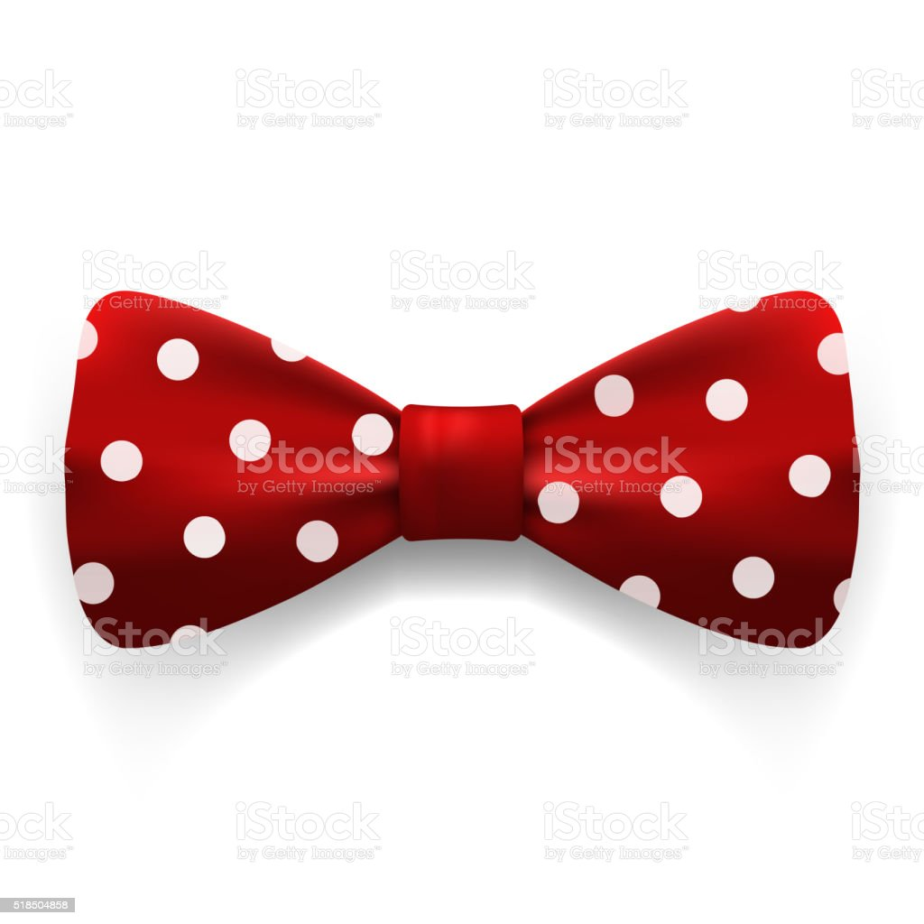 Red polka dot bow tie isolated on white background. vector art illustration