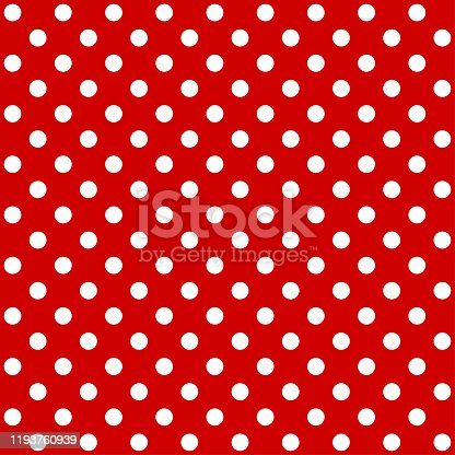 Red polka dot pattern. Seamless background. Vector