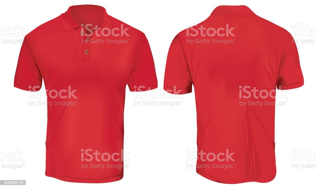 Red Polo Shirt Template vector art illustration