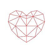 Red polygon heart - icon.