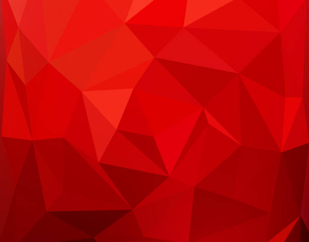stockillustraties, clipart, cartoons en iconen met red polygonal mosaic background - rood