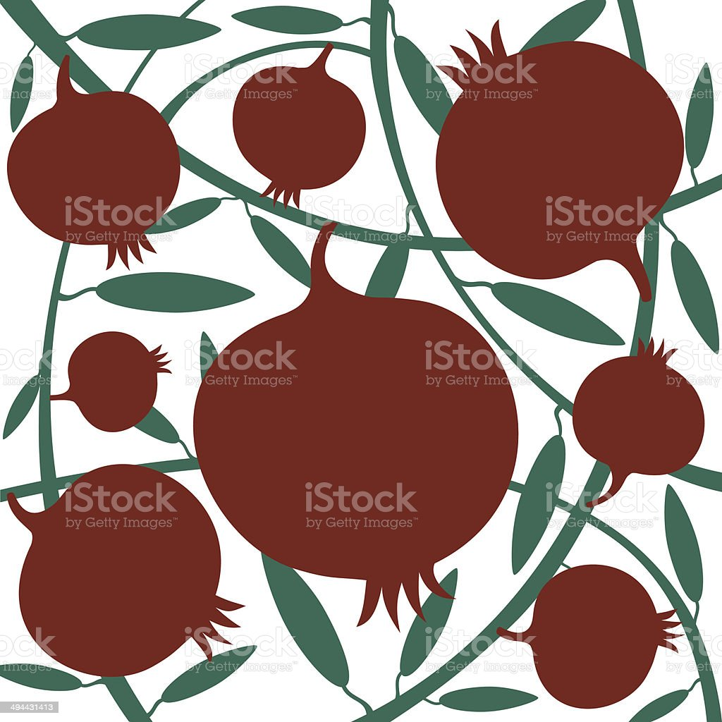 Red Pomegranate On Green Branch royalty-free stock vector art