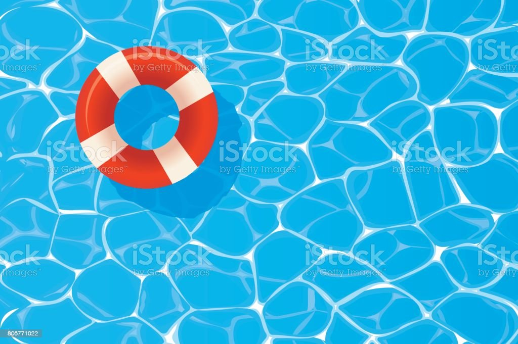 Red pool ring floating in a blue swimming pool. Summer background. vector art illustration