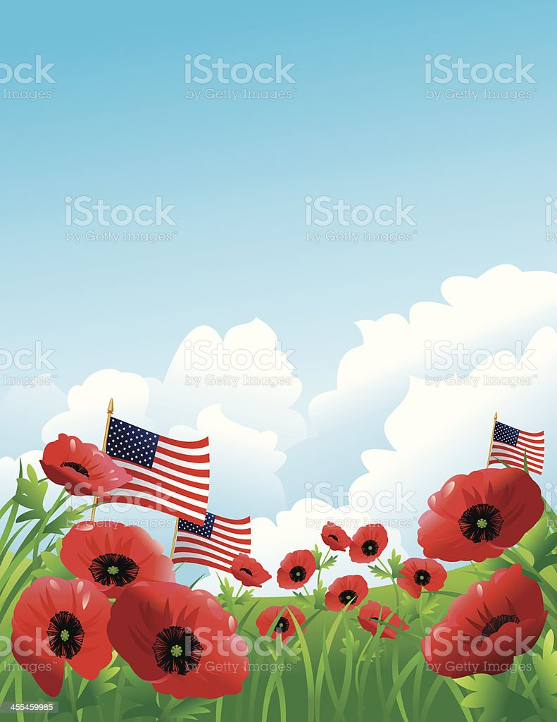 Red Poppies on Hill with American Flags vector art illustration