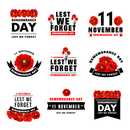 Red poppy flower icon for Remembrance Day design