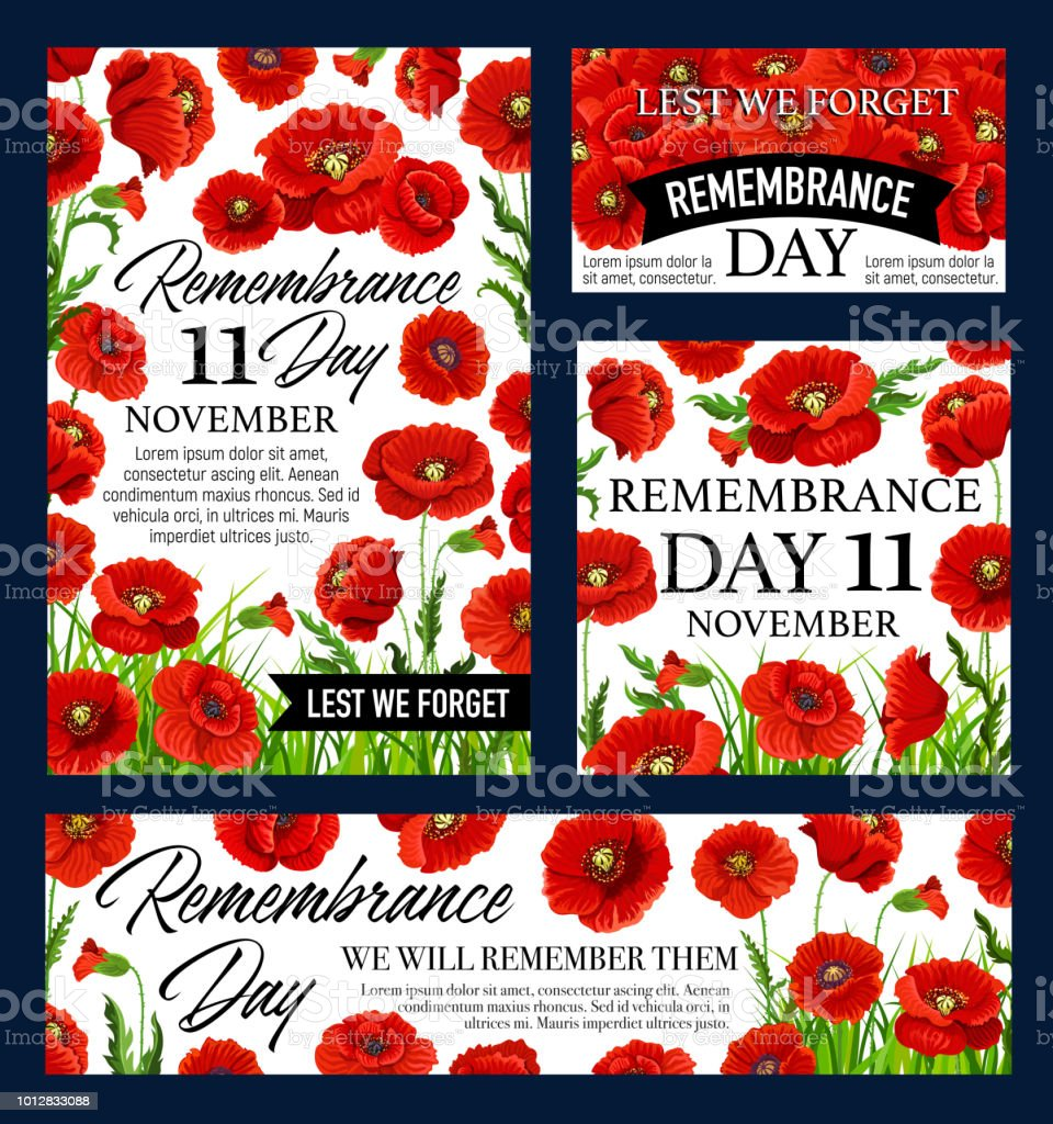 Red Poppy Flower Remembrance Day Memorial Banner Stock Vector Art